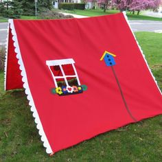 Kids fun with clothesline tent from old sheets+sew on details... could make like a fort for boys