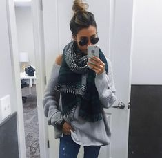 Green plaid scarf and slouchy comfy sweater