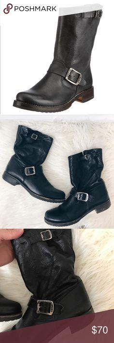 Frye Veronica short slouch Moto boot Worn condition but still lots of life! Slouchy style. Genuine leather. Frye Shoes Combat & Moto Boots