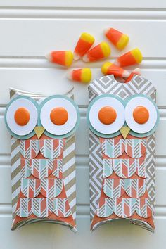 *We R* Owl Pillow Poxes - Scrapbook.com - Use the We R Memory Keepers Punch Board and Thumb Notch Punch to create these adorable pillow boxes!