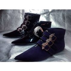 Pikes Winklepickers Vegan Purple Suede, buckle boots 80s Goth Gothic... (140 AUD) ❤ liked on Polyvore featuring shoes, boots, ankle booties, goth boots, faux leather boots, purple booties, zipper booties and faux leather booties