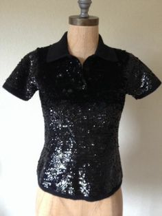 Lauren Ralph Lauren Sweater Black Sequined 100% Merino Wool Short Sleeve S Polo