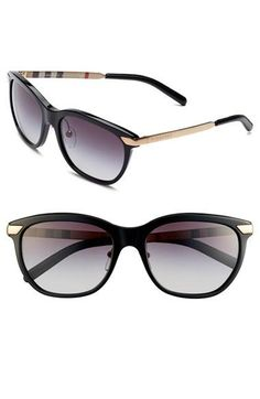 burberry sunglasses womens h4ho  Women's Burberry 'Trench' Sunglasses Dark Havana One Size BE