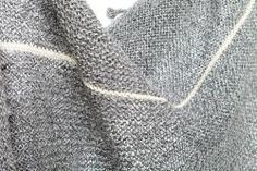Hand Knitted Alpaca Blanket - no pattern, but like the color, cream stripes and yarn choice