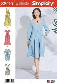 Simplicity Sewing Patterns, Dress Sewing Patterns, Clothing Patterns, Summer Dress Patterns, Vintage Patterns, Stylish Dresses, Simple Dresses, Sewing Clothes, Diy Clothes