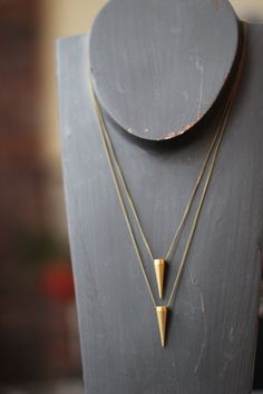 Pendulum Pendant Set - Solid Brass Spike - Tribal, Industrial  Necklace set - Raw Gold Matte Brass - Unisex - Gift Box