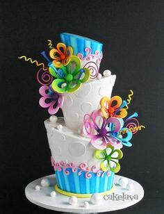 Topsy Turvy Whimsical cake by Cakelava of Hawaii