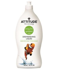 Attitude Dishwash Liquid Green Apple & Basil - Did you know soap works by pushing away residue and grease? It's like a food force field! ATTITUDE's efficient Dishwashing Liquid is scented with refreshing green apple and basil, and uses only worry-free, plant- and mineral-based hypoallergenic ingredients that are 100% safe for your family. Whether you've made a cake or art, its cleansing foaming action is tough on grease and easy on your hands.