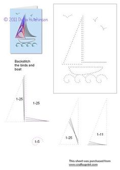 Sailing Boat on Craftsuprint designed by Diana Hutchinson - A stitching pattern… String Art Tutorials, String Art Patterns, Embroidery Cards, Embroidery Patterns, Card Patterns, Stitch Patterns, Arte Linear, Stitching On Paper, Sewing Cards