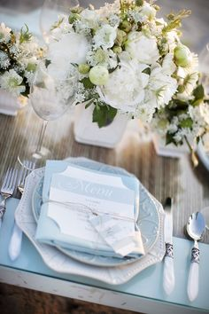Beach Themed Wedding - Place Setting