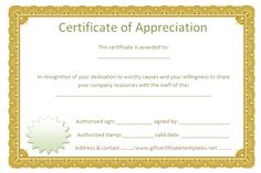 Golden border certificate of appreciation - Free Certificate Templates