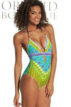 ce9eacf1b91bc Trina Turk 2014 'Jungle Seychelles' One Piece | Orchid Boutique Halter Top  Swimsuits,