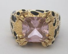 Vintage Pink Rhinestone 'Leopard' Ring KJL Size 8, Kenneth Jay Lane Designer Signed Collectible Vintage Jewelry by MartiniMermaid on Etsy