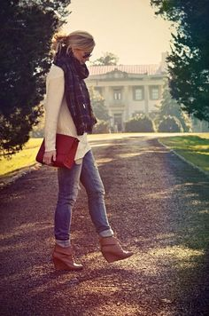 Wedges, jeans, comfy sweater, large scarf. Fall is coming!