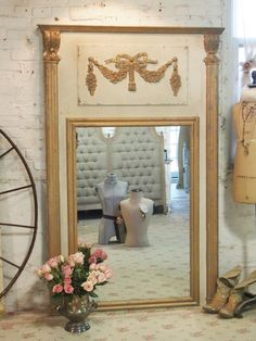 Painted Cottage Shabby White Romantic French Mirror [MR345] - $575.00 : The Painted Cottage, Vintage Painted Furniture