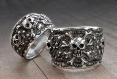 Custom made to order. Matching Pirate / Skull wedding ring set. A very unique set with a new take on an authentic pirate ring. Rustic and aged for a vintage look. Each set is made by hand - by me - one at a time in my studio in Southern California, USA The inside of both rings are