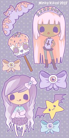 minty-kitty:    My new set, Creepy Candy  I am hoping to get this made into stickers soon :D