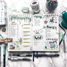this green theme is lovely! by @misfit.plans // Use the tag #bulletjournalss for a chance of being featured. Use the code BULLET10 for…