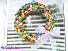 Kims Kandy Kreations: Jelly Bean Easter Wreath (would be cute on the door for beans jellybean birthday party!)