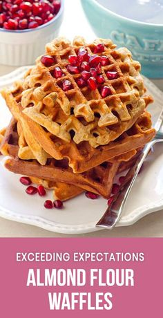 Almond Flour Waffles Recipe that will exceed your expectations. Delicious healthy waffles with super simple ingredients. See for yourself! #ifoodreal #cleaneating #healthy #recipe #breakfast