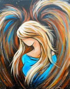 Angel in blue prophetic art painting.