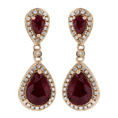 Effy Jewelry Gemma Rose Gold Ruby and Diamond Earrings, 2.98 TCW ($2,800) ❤ liked on Polyvore