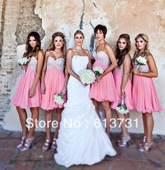 2014 New Arrival Under 100 A Line Chiffon Pink Bridesmaid Dresses Short With Beads And Sequins Brides Maid Dress