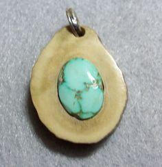 Natural Kingman Turquoise Deer Antler Pendant | foxaz - Jewelry on ArtFire