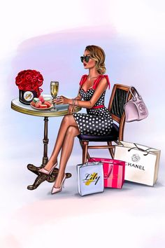 Illustration Mode, Fashion Illustration Sketches, Fashion Sketches, Girl Cartoon, Cartoon Art, Art Et Design, Mode Poster, Girly Drawings, Fashion Wall Art