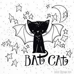 Bat Cat. Day 152 of yearlong sketchbook project. Cassie Loizeaux