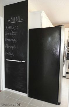 Create a chalkboard accent wall in your kitchen! Low cost, HUGE impact!