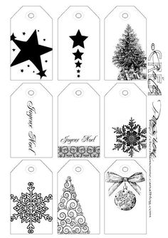Print on coloured cardstock to make Christmas gift tags. Noel Christmas, Christmas Gift Tags, Winter Christmas, All Things Christmas, Black Christmas, Gift Tags Printable, Christmas Printables, Christmas Inspiration, Holiday Crafts