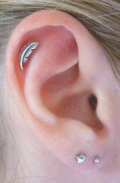 Leaf Tragus Ear Piercing, Cartilage Jewelry, Helix Earring Stud 16G Silver at MyBodiArt.com