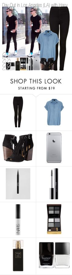 """""""Day Out in Los Angeles (LA) with Harry & Title Tag"""" by elise-22 ❤ liked on Polyvore featuring Topshop, Chinese Laundry, Stila, shu uemura, NARS Cosmetics, Tom Ford, Robert Piguet, Butter London and ASOS"""