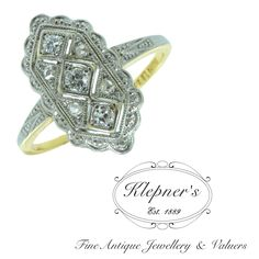 14ct yellow and white gold Art Deco plaque ring featuring 3 brilliant cut diamonds totalling to approx. 0.13ct and four rose cut diamonds totalling to G colour, SI clarity embellished with millegrain detailing. Visit us at www.klepners.com.au