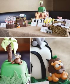 jungle baby shower with an animal cake