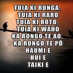 Māori blessing, Tuia ki runga, tuia ki raro, tuia ki roto, tuia ki waho...  #Maori #Karakia   For more Māori resources, visit www.maorime.com