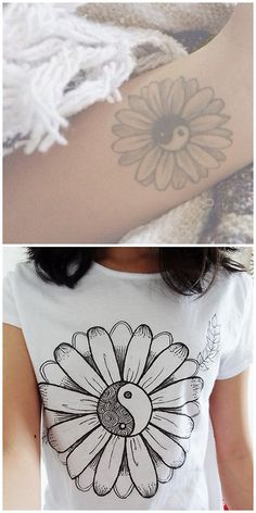 DIY Tattoo Inspired Tee Shirt Tutorial Essas Frescurites here. She links to another tutorial where she used a fabric pen. If you are using a white tee there are other ways to transfer or trace designs like placing the design in the tee shirt and tracing over it. Top Photo: Tattoo from here, Bottom Photo: DIY by Essas Frescurites. For more DIY Tees go here.