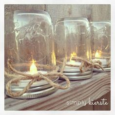 Mason Jar Table Lanterns: Upside down Mason Jars with tea lights inside Led Tealight Candles, Tea Light Candles, Tea Lights, Candle Centerpieces, Battery Candles, Centerpiece Ideas, Centerpiece Flowers, Burlap Wedding Centerpieces, Outdoor Table Centerpieces