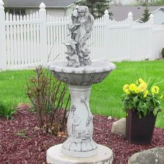 This fountain will add a touch of fantasy to your garden. As water pours out of the jar, it flows from one flower cup to the next, creating a soft and soothing water sound. The pedestal is styled with detailed flower reliefs.