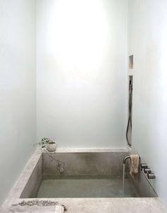 Concrete bathroom tub
