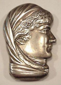 Figural Pocket Matchsafe Vesta Sarah Bernhardt Sterling Silver RARE Match Safe