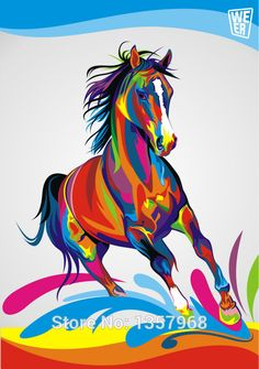 pop Art Original Colorful Paint horse painting Graphic pictures Art print on the canvas wall decor Home wall art picture(China (Mainland))