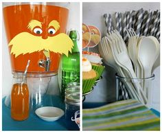 lorax drink dispenser. totally could do this. I already have the drink dispenser, just cut out the lorax face and stick on!