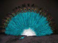 """Marabou Feather Fan w/ Peacock - JADE GREEN 24"""" x 14"""""""