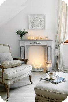 Fun mantel without a fireplace