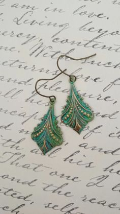 Turquoise Green Earrings Patina Filigree by BrideAndBridesmaids