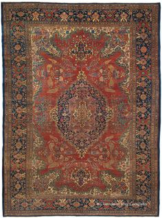 FERAHAN SAROUK, West Central Persian, 10ft 1in x 13ft 10in, Late 19th Century. This extraordinary 19th century carpet's singular design portrays an understated, exquisite medallion around which cypress tree motifs and other flower forms tilt and sway. Highly organic drawing is executed with masterful flair in all four quarters of this antique Oriental rug, including the inventive main border. This layering of design adds great sophistication, yet the effect remains spacious and balanced.