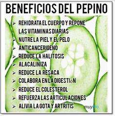 Beneficios de los pepinos #Nutrición y #Salud YG > nutricionysaludyg.com