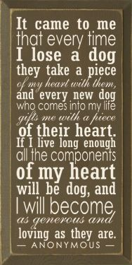 It cam to me that every time I  lose a dog they  take a piece of my heart with them, and every new dog who comes into my life gifts me with a piece of their heart. If I live long enough all the components of my heart will be dog, and I will become as generous and loving as they are.